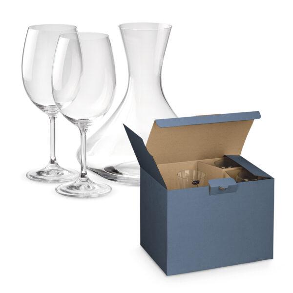 מארז כוסות יין ובקבוק מזיגה
